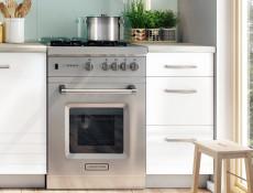 Free Standing White/Light Grey Kitchen Cabinets Cupboards 7 Units Set - Paula