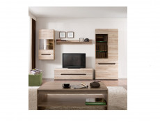 Slim Tall Two Door Glass Display Cabinet Unit with LED Lights in Light Oak Effect Finish - Elpasso