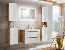 Modern White Gloss / Oak Tall Wall Mounted Bathroom Cabinet Storage Unit Tallboy - Aruba (ARUBA_800)
