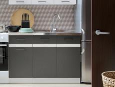Modern Free Standing Kitchen Cabinet 600 Base Cupboard 2-Door Unit 60cm Grey/White Gloss - Junona