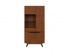 Retro Tall 4-Door Display Cabinet LED Lights Glass Storage Unit Living Room Brown Oak - Madison (S431-REG3D1W/200-DABR-KPL01)