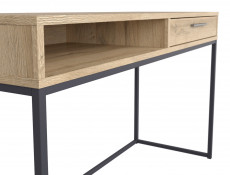Industrial Laptop Desk Table with Drawer for Home Office Study Metal Legs Oak - Gamla