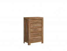 Modern Oak Tall Narrow Chest of Five Drawers Tallboy Dresser Office Storage Unit - Gent