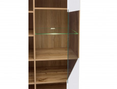 Modern White Gloss & Oak Wide Glass Fronted Display Cabinet Storage 2 Door Unit with LED Light - Zele