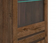 Classic Tall Glass Door Storage Display Cabinet Unit with Lights Dark Oak/Grey - Kada (S404-REG1W1D-DARL-KPL01  + S404-REG1W1D_OPCJA2-BI3K-KPL01)
