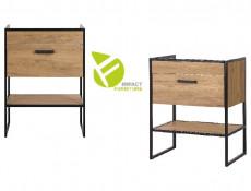 Industrial Oak/Black Metal Bathroom Furniture Set Tall Storage Unit 60cm Vanity Cabinet Ceramic Sink - Brooklyn