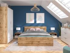 Modern Double Bed Frame Headboard Wooden Slats 140 cm Wotan Oak - Zele