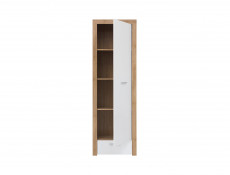 Modern Tall 1-Door Cabinet Storage Drawer Unit Oak/White Gloss - Balder