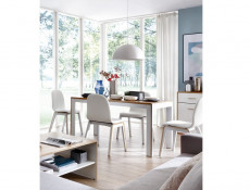 White & Oak Extending Dining Table and 4 Chairs Room Set - Bari