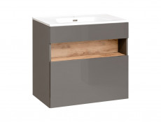 Modern Grey Gloss Wall Vanity Cabinet 600 Unit with Designer Oak Shelf LED Light Ceramic Sink - Bahama