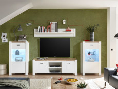 Country Media Table TV Stand Storage Cabinet Unit White/Oak 160cm - Dreviso (S378-RTV2D/160-BI/DWM/BI)