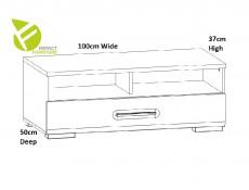 Modern White Gloss Entertainment Media Bench TV Cabinet Storage Drawer Unit 100 cm - Assen