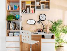 Modern Wall Mounted Open Shelf Cabinet Cube Storage Geometric Display Unit Light Grey/Oak - Nandu (S441-POL/50-JSZ/DP-KPL01)