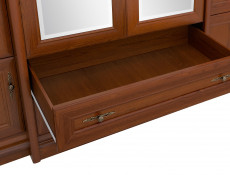Four Door Wardrobe with Mirror Vintage Traditional Bedroom Chestnut finish - Kent (S10-ESZF4d2s-KA-KPL02)