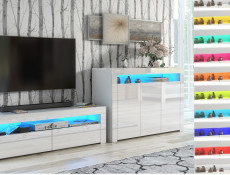 Modern White Gloss TV Cabinet Entertainment Stand Unit Media Stand RGB Colour LED Light - Lily