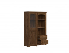 Classic Display 1-Door Cabinet Dresser Storage Unit Glass LED Dark Oak - Patras (S405-REG1W2S-DARL + LED OPCJA)