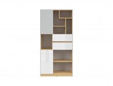 Modern Bookcase Storage Cabinet Shelving with Drawers Kids Bedroom Soft Closing White Gloss/Grey/Oak - Nandu