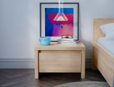 Modern Bedside Cabinet Table Bedroom Unit Sonoma Oak Light Wood - Kaspian