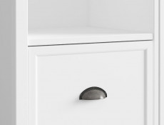 Wide Glass Fronted Display Cabinet 4 Door 3 Drawer Dresser Unit White / Oak Finish - Cannet (S351-REG2D2W3S-BI/DAMO/BI)