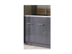Free Standing White/Grey Gloss Kitchen Sink Cabinet Cupboard Unit 80cm - Modern Luxe (Luxe D80ZL ZASL)