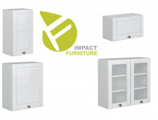 White High Gloss Kitchen 7 Cabinets Unit Set Shaker Cupboards Country Modern Style - Antila (HOF-ANTILA_SET-7UNITS_2.4-BI-BIP)
