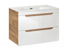 Modern Wall Mounted Bathroom Cabinet 60cm Set Storage Unit Oak/White Gloss - Aruba (ARUBA_820-60_CM_SET)
