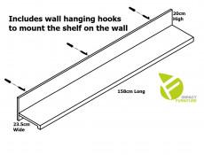 Modern White Gloss / Oak Effect Finish Wall Mounted Display Panel Shelf Unit 150cm - Erla