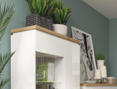 Modern White Gloss / Oak finish Display Cabinet Glass Tall Shelving Unit with LED Light - Erla (S426-REG1D1W1S-BI/DMV/BIP-KPL01 & OPJCA)