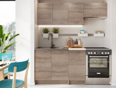 Complete Kitchen Set of 5 Cabinets Units Flat Pack in Truffle Dark Oak finish with Franke Sink – Nela 1