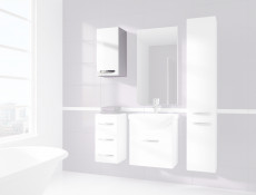 Narrow Small Wall Hanging Bathroom 1 Door Cabinet White High Gloss - Coral (STO-CORAL-W30-P/L-BI/BIP-KP01)