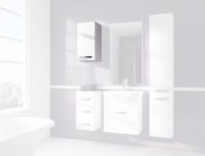 Szafka Wisząca do łazienki 1-drzwiowa Słupek Biały Połysk - Coral