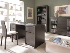 Modern Wide Desk Office Study Computer Wenge Dark Wood 160cm - Kaspian (S128-BIU2D2S/160-WE/WE-KPL03)
