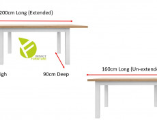 Modern Extending Sturdy Dining Table White Matt / Oak finish - Erla