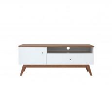 Scandi White Gloss/Wanut finish 1-Door 1-Drawer Media TV Bench Living Room Cabinet Stand Wooden Legs - Heda