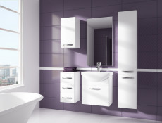 ​Tall Narrow Bathroom Wall Mounted Unit Cabinet White High Gloss - Coral