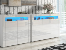 Set of 2 White High Gloss Sideboards with Blue LED Light Modern Unit Display Cabinets Cupboards - Lily