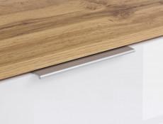 Modern Wide Media Table TV Stand Cabinet Unit White Gloss/Oak 135cm - Zele (S383-RTV2S-DWO/BIP-KPL01)