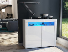Square Small Sideboard Display Cabinet White High Gloss with Blue LED Light - Lily