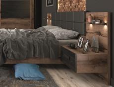 Elegant Super King Size Bed Frame Built-in Bedside Wall Cabinets USB LED Lighting Oak/Black - Kassel