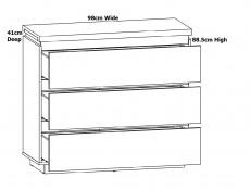 Modern White Gloss / Oak Effect Finish Large Chest of 3 Drawers Soft Close Storage Unit - Erla