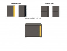 Modern Grey Matt Bedside Cabinet Table Side Unit with 2 Drawers Left Insert Bedroom Furniture - Graphic