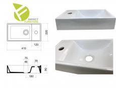 Modern White Gloss / Oak Bathroom Furniture Set Wall Vanity Cabinet Ceramic Sink Cloakroom Storage Unit - Aruba (ARUBA_826-40_SET)