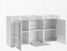 Modern White High Gloss Sideboard Glass Display Cabinet TV Unit Lowboard - Lily (HOF-LILY-2D1K_BI-BIP-KP01)