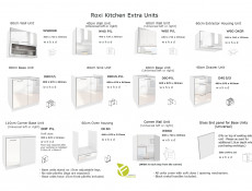 Free Standing White Gloss Kitchen Extractor Housing Wall Cabinet 60cm - Roxi