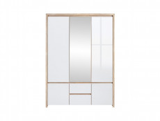 Three Door Wardrobe Sonoma Oak & White Gloss - Kaspian (S128-SZF5D2S-DSO/BI-KPL01)