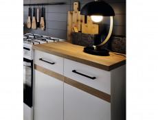 Modern Free Standing White Gloss/Oak Cabinets Cupboards Modular Set of 7 Base & Wall Units - Junona