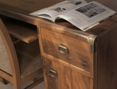 Modern Home Office Desk with 2 Drawers Pull Out Keyboard Shelf in Dark Oak Effect Finish - Indiana (S31-JBIU2s-DSU-KPL01)