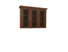 Vintage inspired Glass Dresser Cabinet Top Unit Dark Wood Tone - Kent (ENAD 3W)