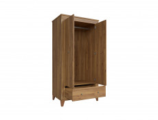 Traditional Two Door Wardrobe with Drawer in Oak finish - Bergen