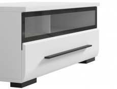 TV Cabinet with Glass Front in White Gloss Finish - Fever